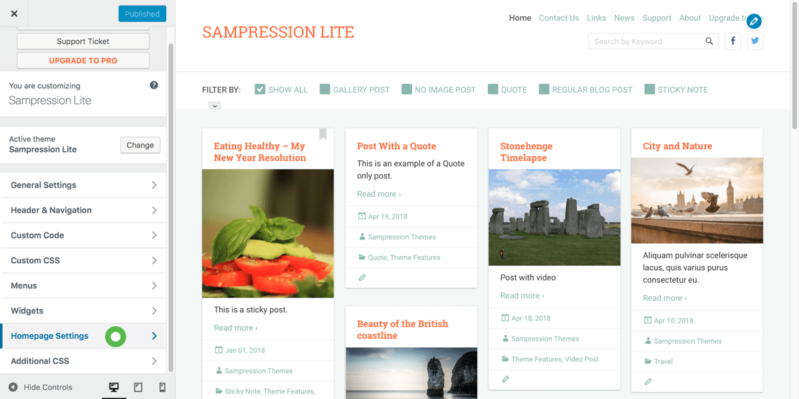 Customizing your Sampression Lite homepage